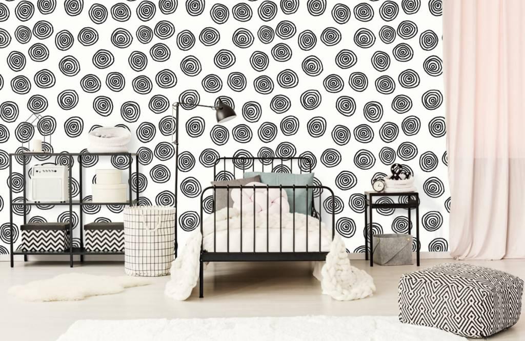 Abstract behang - Abstracte cirkels in zwart/wit - Hobbykamer 2