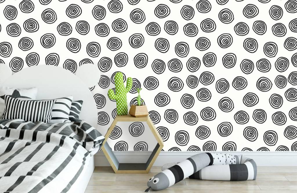 Abstract behang - Abstracte cirkels in zwart/wit - Hobbykamer 3