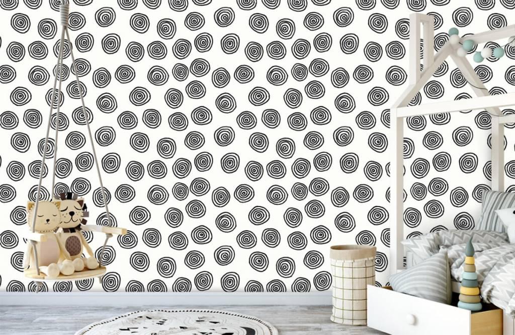 Abstract behang - Abstracte cirkels in zwart/wit - Hobbykamer 4