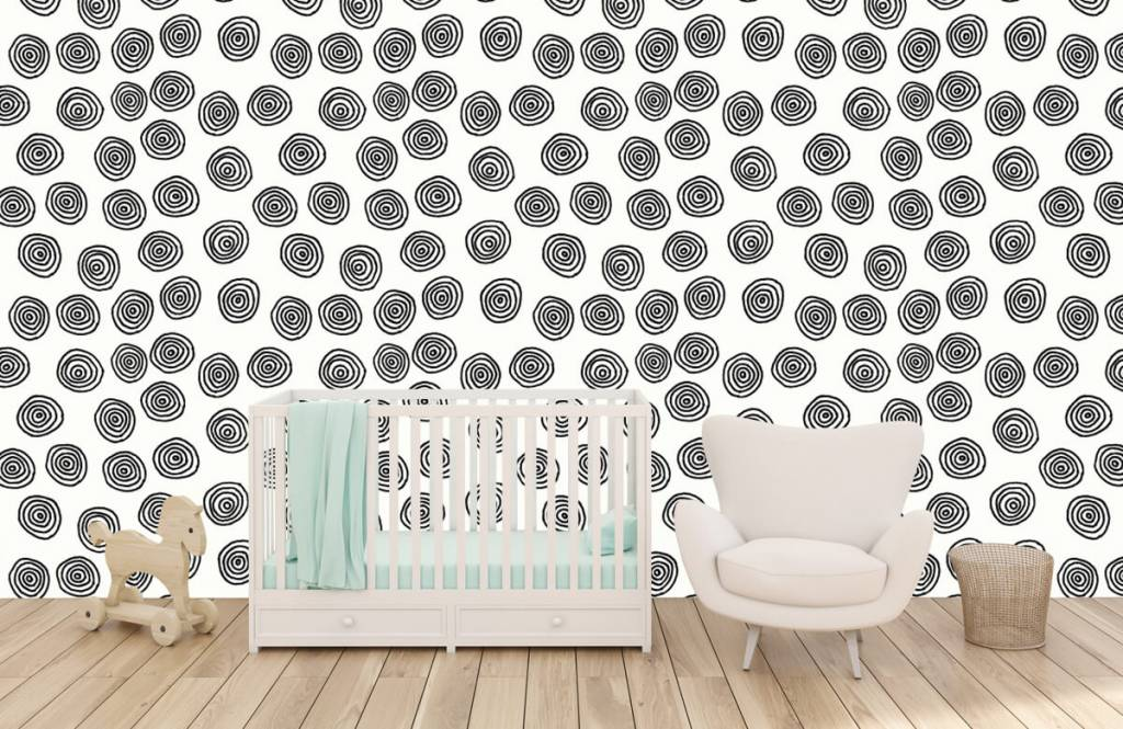 Abstract behang - Abstracte cirkels in zwart/wit - Hobbykamer 5