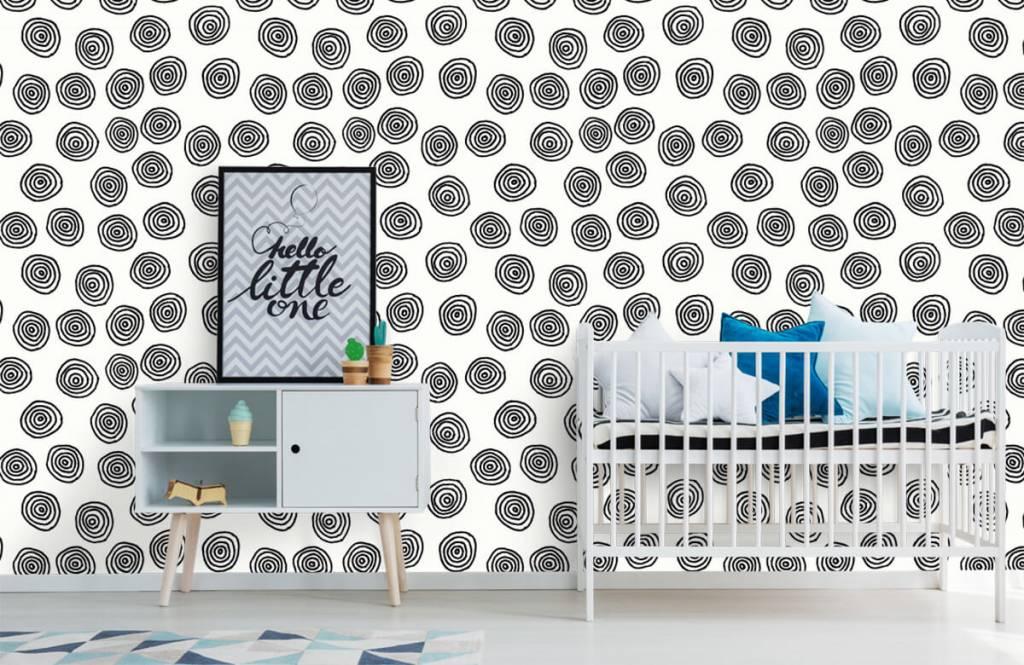 Abstract behang - Abstracte cirkels in zwart/wit - Hobbykamer 6