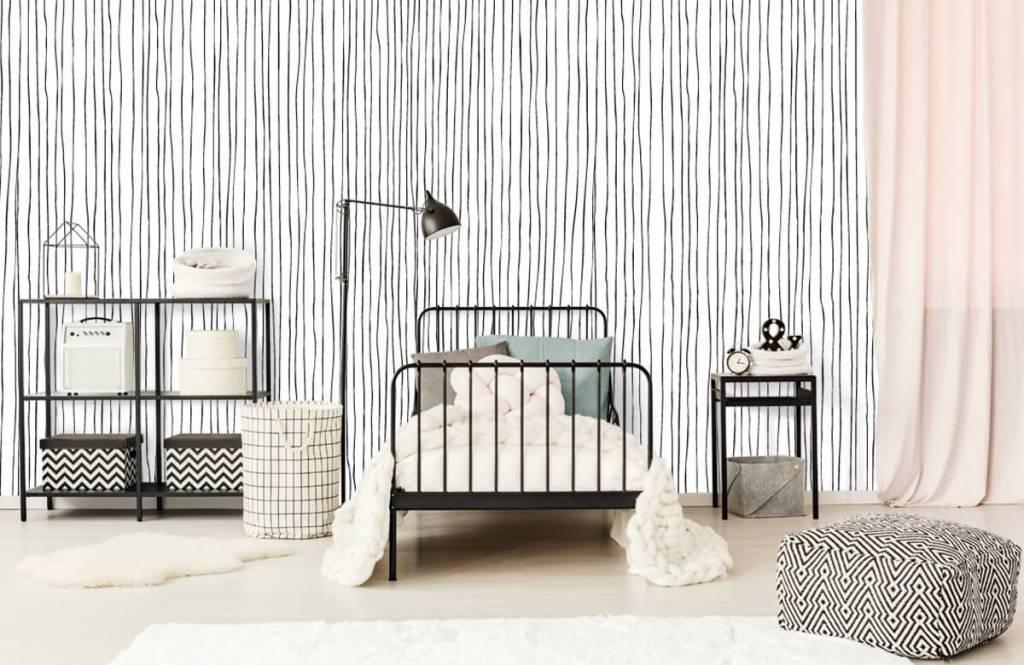 Abstract behang - Abstracte lijnen in zwart/wit - Magazijn 1