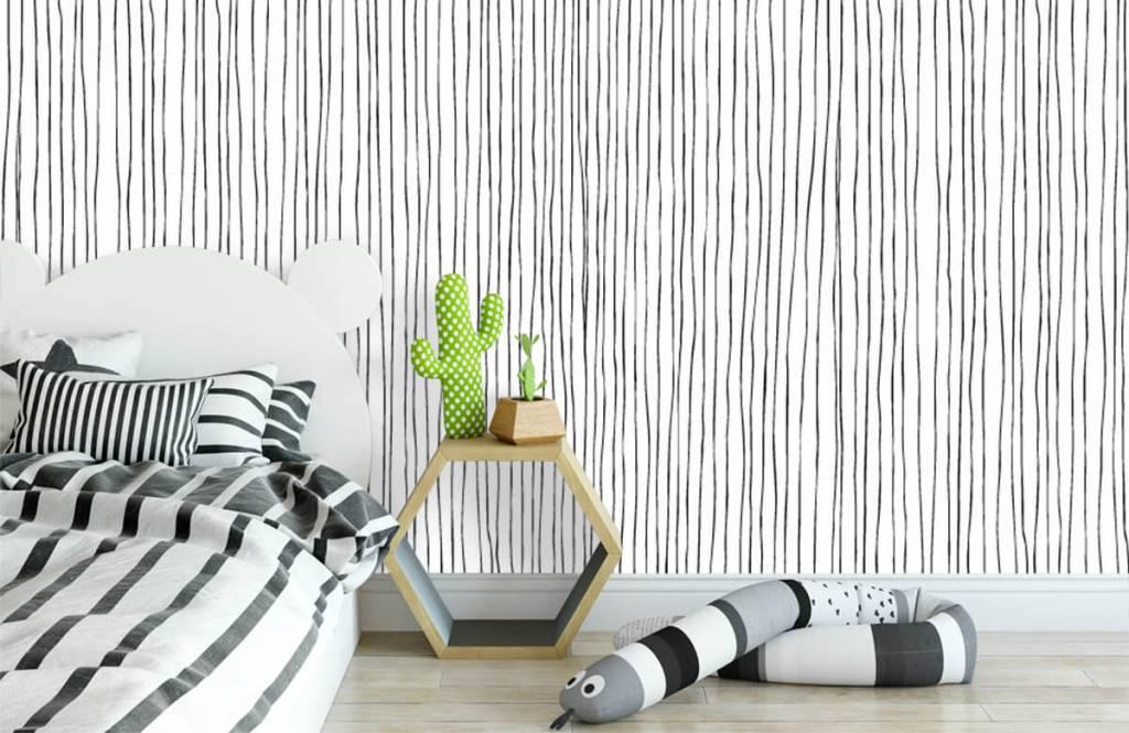 Abstract behang - Abstracte lijnen in zwart/wit - Magazijn 2