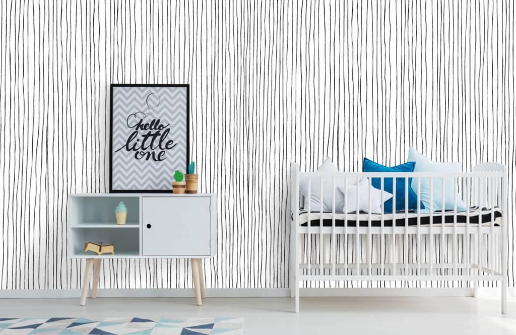 Abstract behang - Abstracte lijnen in zwart/wit - Magazijn 6