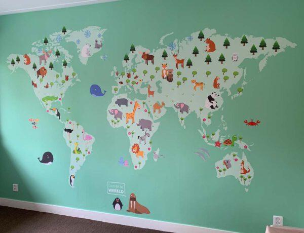 wereldkaart voor kinderkamer